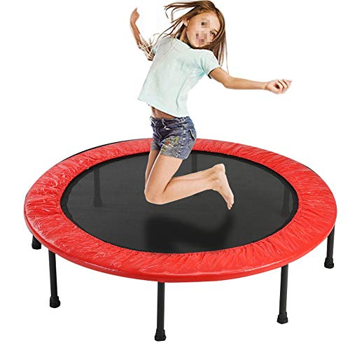 JXJJD Mini Trampoline, 40' Foldable Fitness Bouncer Best Aerobic Exercise Fitness Equipment in The Gym or Home Outdoor for Indoor Outdoor Exercise Workout
