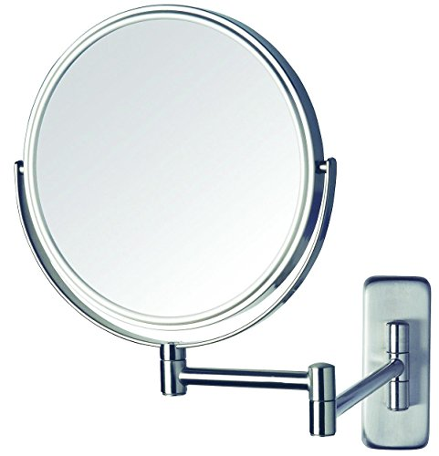 Jerdon Wall Mount Makeup Mirror with 5x Magnification