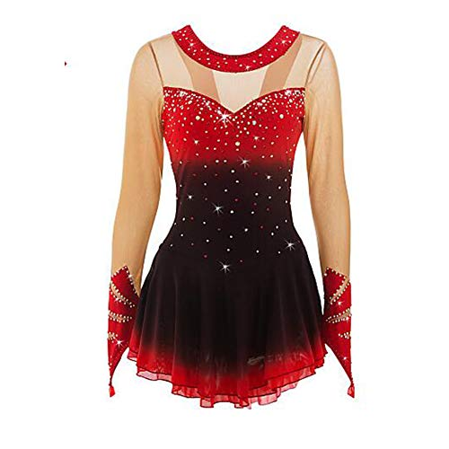 LWQ Eiskunstlauf-Kleid-Frauen-Mädchen Eislaufen Kleid Schwarz/Rot Rot + Schwarz Halo Färben Spandex hohe Elastizität Wettbewerb Skating,10