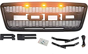 ORB Front Grille Mesh For Fd F-150 2004-2008 Raptor Style Grill Replacement W/Amber Lights & Letters & Harness Matte Black