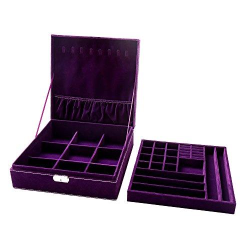KLOUD City Purple two-layer lint jewelry box organizer display storage case with lock