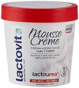 Lactovit - Mousse Crème Hidratante Lactourea para Cuerpo y Cara de 24H Duración, para Pieles Secas y Muy Secas - 250 ml