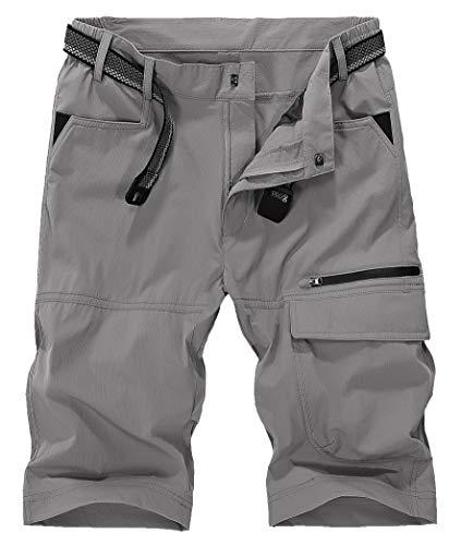 KEFITEVD トレッキングパンツ メンズ ハーフパンツ 5分丈 ゴルフウェア 吸汗速乾 ミドルパンツ 水陸両用 ショートパンツ ナイロン リバーパンツ ウエストゴム 耐摩耗 グレー 3XL