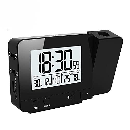 Reloj Despertador con Digital,Reloj de Humedad de Temperatura de Luz de Fondo de Repetición de Alarma de Mesa Electrónica LED con Relojes de Tiempo