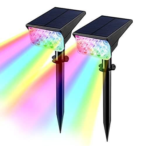 T-SUN Solarleuchte Garten, 20 LED Gartenstrahler Solarstrahler für Außen Garten mit IP65 wasserdichte, 2 Modi, Farbwechsel LED Gartenbeleuchtung solar Außenwandleuchte für Hof, Pfad (2 Pack)