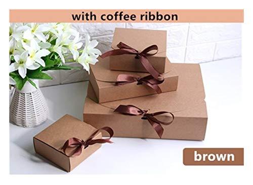LOOEST Múltiple Partido del tamaño Negro Blanco Papel Kraft Paquete Caja de Regalo de Boda Cajas del Favor de Caramelo con la Cinta Gift (Color : Brown, Gift Box Size : 310x250x80mm 10pcs)