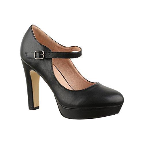 Elara Zapato de Tacón Alto con Correa Mujer Vintage Chunkyrayan Negro E22320 Black-39
