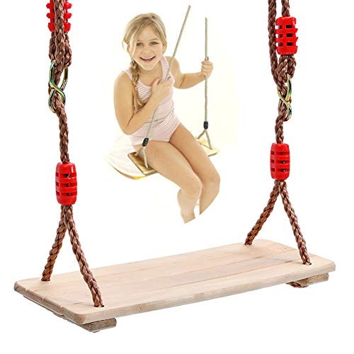NUB Wooden Swing Seat Swing Seat Hanging Tree Swing for Adults Kids Polished Four Board Anti-Corrosion Wood Swing Outdoor Indoor