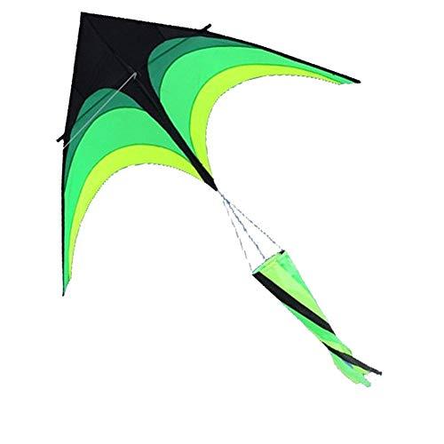 TX GIRL 2m Gröna Triangeln Kite Med Långt Band Ström Kite Umbrella Cloth Prairie Good Flying (Color : Kite with windsock)