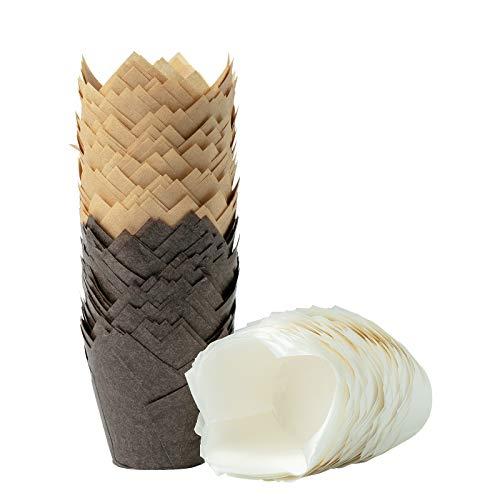 katbite 200 Stück Tulpen Backförmchen, Muffin Backbecher aus Papier Cupcake Einlagen für Party