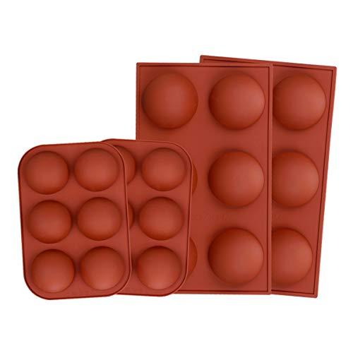 4 Pcs Moldes de Silicona Esfera, Molde de Chocolate Semiesfera DIY con...