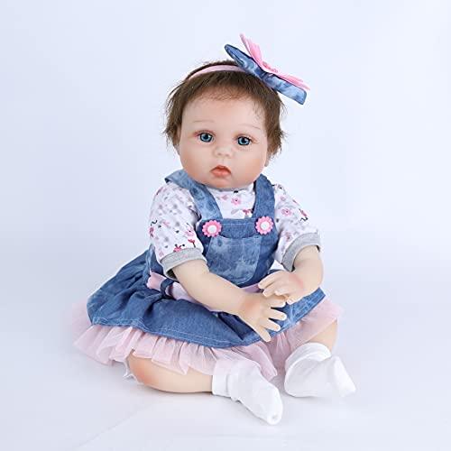 Scnbom 22pulgadas 55cm Bebes Reborn niñas Silicona Blanda muñecas Reales Recien Nacidos Toddler Nino Ojos Abiertos Baratos Baby Dolls Girls Originales