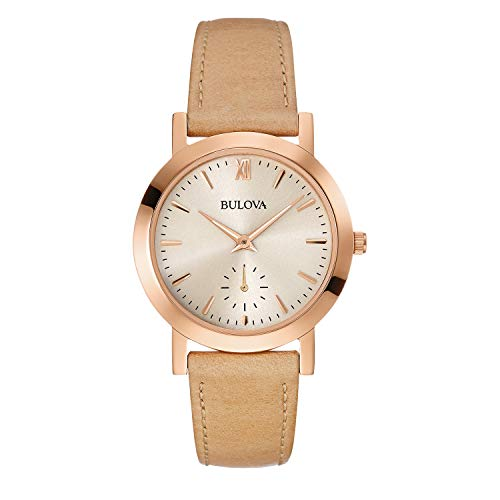 Bulova Women's Stainless Steel Analog-Quartz Watch with Leather Strap, Brown, 16 (Model: 97L146)