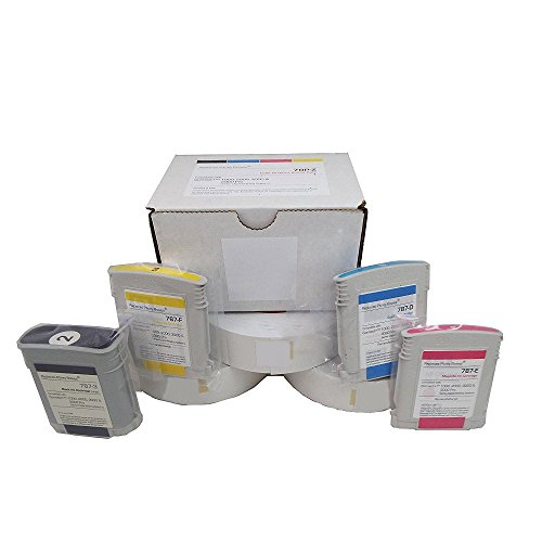 Pitney Bowes Compatible 78P-Z Graphics Bundle 787-3 Black, 787-E Magenta, 787-F Yellow and 787-D Color Cyan Ink Cartridge for Connect+ Mailing Systems+(3 Rolls) 613-H Connect Tape