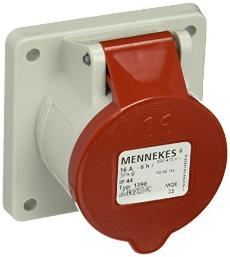 Mennekes (Unternehmen) 101100215Grundlagen Semi Einbauleuchten CEE, Steckdose, 400V, 50–60Hz, 16A, 4-polig, IP 44, 75mm x 75mm Rahmen, 10Paket, rot