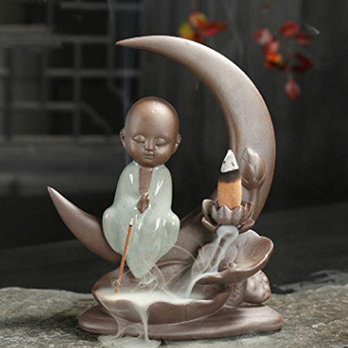 Deals Aromatic Waterfall Incense Burner for Gift, Home and Office and Handmade Ceramic Censer Smoke (Small Monk Waterfall)