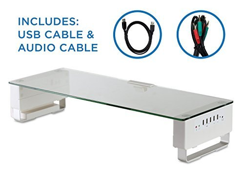 Mount-It Glass Monitor Stand with 5 USB Ports MI-7266 for 55.64
