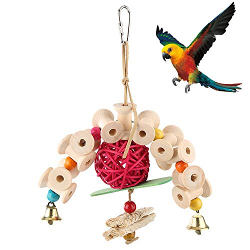 Parrot Chew Toys - Juguetes para Masticar pájaros de Madera Natural Parrot Cage Bite Toys Colgando Loro Juguete para Cockatiels Gris Africano Periquitos Conures Lovebirds