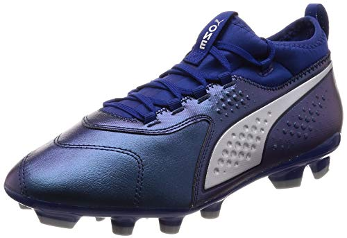 PUMA One 3 HG Men's Leather Soccer Cleats-Blue-8.5