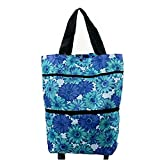 Trolley Folding Shopping Bag Reusable with Wheels Tote Portable Hand-pulling Utility Collapsible With Hand-straps Zipped Handbag (Blue)