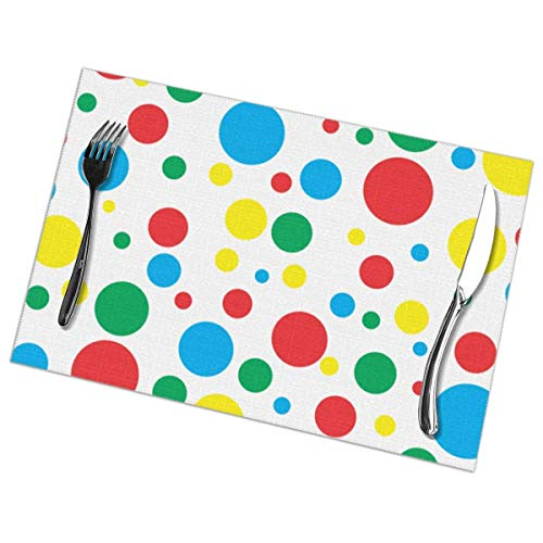 Twister - Juego de 6 manteles individuales con estampado de lunares, mantel individual lavable para mesa de comedor, para cocina, comedor, decoración del hogar, 12 x 18 pulgadas