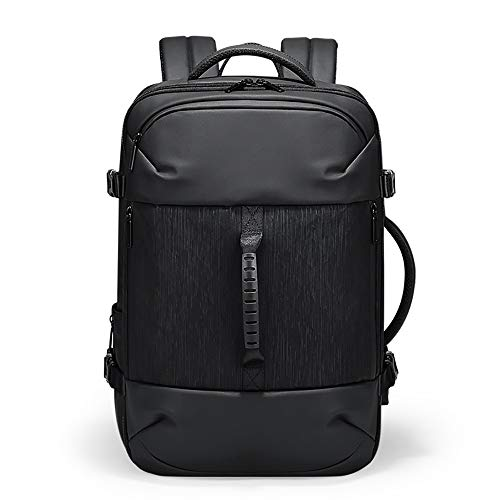 MH-RING Anti-theft Laptop Backpack with USB Charging Port, Waterproof and Expandable Business Rucksack Suitable for Men's Business Trip Travel (Color : Black)