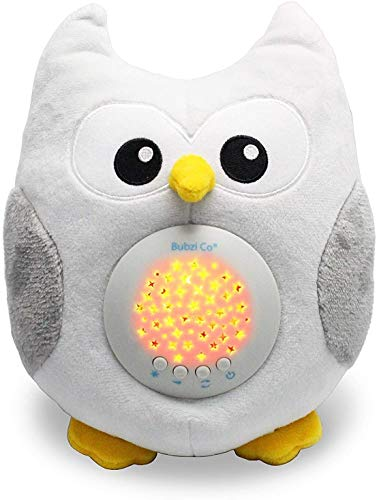 Bubzi Co Jouet bébé blanc Veilleuse & Projecteur pour dormir - Nouveau cadeau bébé, Chouette peluche décoration chambre bébé & veilleuse portable Peluche animal avec 10 musiques enfants pour berceau