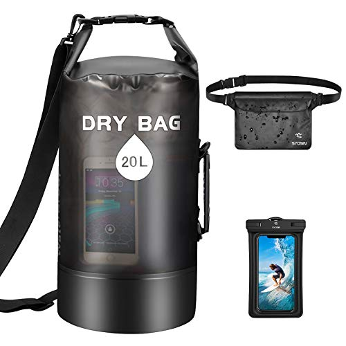 SYOSIN Dry Bag 10L + wasserdichte Handyhülle + wasserdichte Tasche 3er Set, Leichter Faltbarer Wassertasche Packsack Mit Verstellbarem Schultergurt Für Strand, Kajakfahren, Wandern, Camping und Angeln