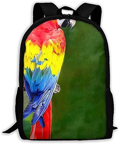 Zaino,Casual Unisex Borse a tracolla Confezione regolabile College Unisex Cool Colorful Parrot On The Branch Borsa per adulti Oxford Borsa da viaggio Borsa per laptop Dayback all'aperto