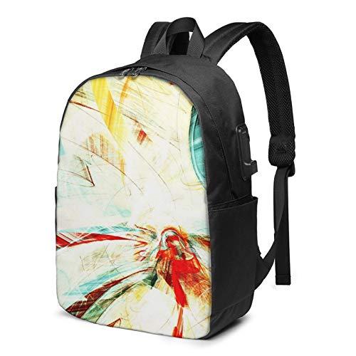 Laptop Rucksack Business Rucksack für 17 Zoll Laptop, Sommerfarbe Futuristisch Glänzend Hell Schulrucksack Mit USB Port für Arbeit Wandern Reisen Camping, für Herren Damen
