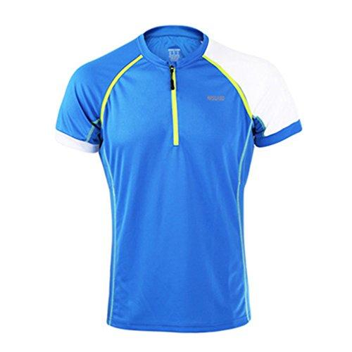 emansmoer Homme 1/4 Zip Manches Courtes Pullover Tops Respirante Outdoor Cyclisme Vélo Course à Pied Sport Wicking T-Shirt (XXX-Large, Bleu)