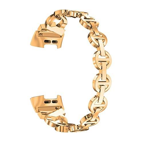Correa de pulsera inteligente de acero inoxidable para mujeres reloj de banda de banda de reemplazo *21798 (Color : Rose Gold)