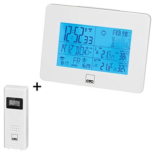 CTC WSU 7026 RC multifunktionale Funkwetterstation mit XL-LCD-Display (beleuchtet), Innen-und Außentemperatur-Sensor, Stand und Wandmontage für Basis und Sensor möglich, weiß