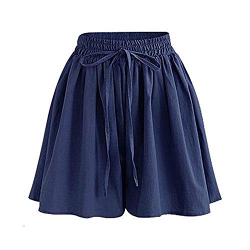 Women's Summer Drawstring Chiffon Shorts High Waist Culottes Shorts Navy Tag L-US 6