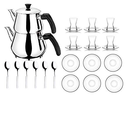 Orginal türkisches Tee Set Teeset 22 TLG./ 6 Transparent Gläser/ 6 Rührlöffel/ 6 Untertassen / 4 TLG. Teekocher Teekannen Set Größe Mini (1,2 & 0,6 Liter)