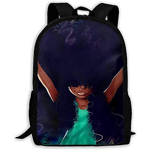 Mochila de Picnic única para Adolescentes jóvenes - Black Girl Art Afro Purple Haired Anime Personajes afroamericanos