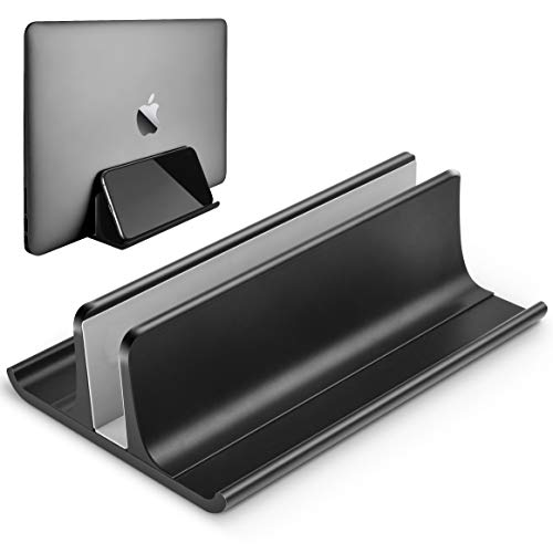HONKID Vertical Laptop Stand, Aluminum Macbook Holder Adjustable Desktop Laptop Dock (up to 17.3 in) Compatible with All MacBook/Surface/HP/Dell/Lenovo/Gaming Laptops,Black