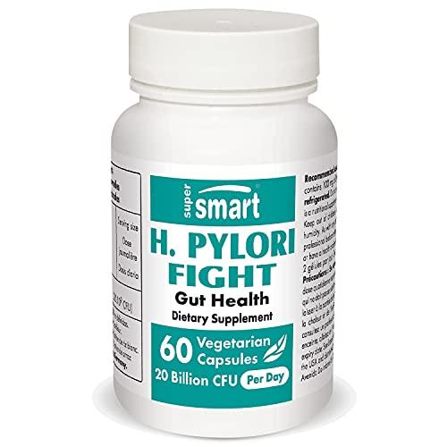 Supersmart - H. Pylori Fight 200 mg Par Jour - (Lactobacillus Reuteri) - Contribue à Aténuer les Problèmes Liés à l'Estomac | Sans OGM - 60 Capsules Végétariennes
