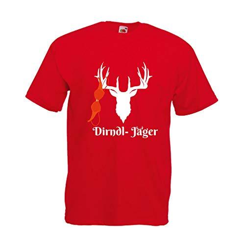 Oktoberfest T-Shirt Herren mit Motiv - Dirndl-Jäger - Tracht Männer Rot (Druck Weiß) L