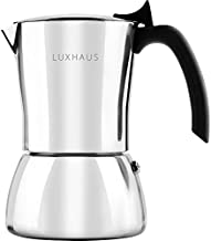 LuxHaus Stovetop Espresso Maker - 6 Cup Moka Pot Coffee Maker - 100% Stainless Steel