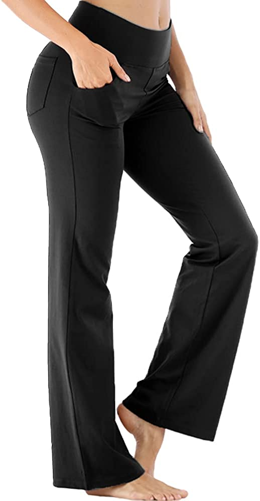 Leafonline Bootcut Yoga Pants Challenge the lowest price of Japan with Max 52% OFF Pockets Women Waist for High