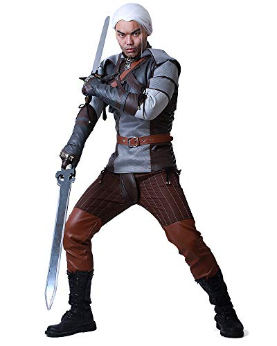 miccostumes Men's Geralt of Rivia Cosplay Costume Outfit (S, Multicolored)