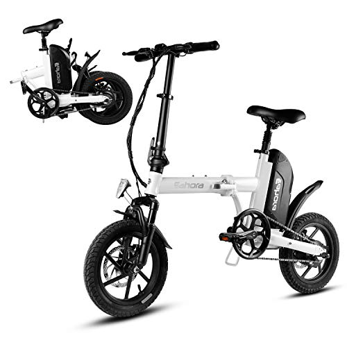 Eahora X3 350W Folding Electric Bike, 14 Inch Collapsible Electric Commuter Bike Ebike with 36V 10.4Ah Lithium Battery, Lightweight and Aluminum Folding EBike with Pedals, Power Assist
