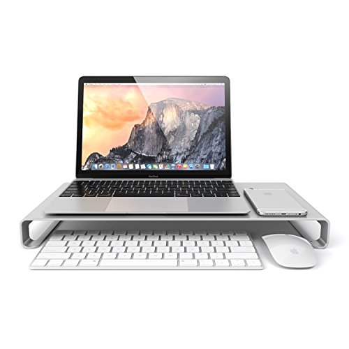 Eplze® Aluminum Alloy Monitor Stand Laptop Riser Shelf for iMac MacBook Computer Desktop Screen Stand Universal Aluminum Unibody Monitor/Laptop/iMac/PC Stand (Silber, Groß: 49 * 21 * 5)