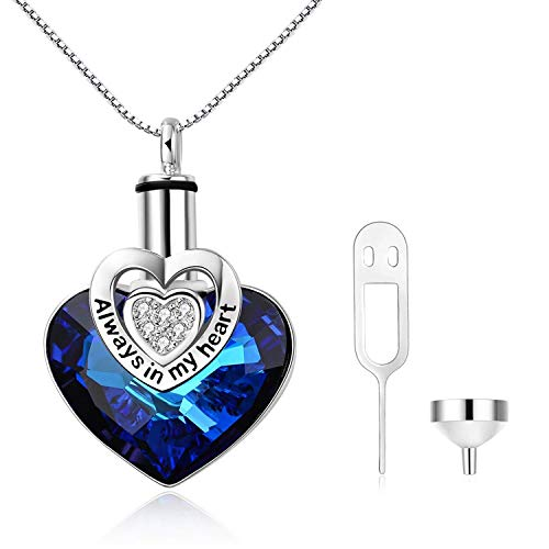 AOBOCO Engraved 'Always in my heart' Sterling Silver Heart URN Necklace Cremation Necklace for Ashes, Blue Crystal from Swarovski, Fine Keepsake Memorial Ashes Necklace Cremation Jewelry for Ashes