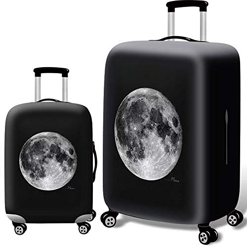 Luggage Cover 3D Anti-scratch Elastic Camouflage Tavel Luggage Cover Fit For 18-32 Inch Luggage (Color : Moon, Size : S(18''-21''))