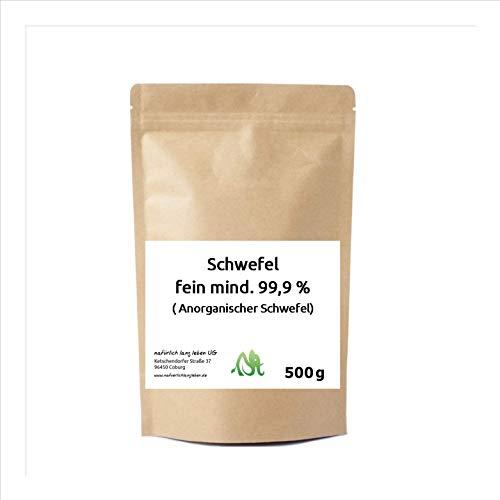 Anorganischer Schwefel (Sulfur) fein mind. 99,9% 500g pharmazeutisch rein, Original aus Naturrohstoff, hochwertig gereinigt, säurearm, doppelt verpackt