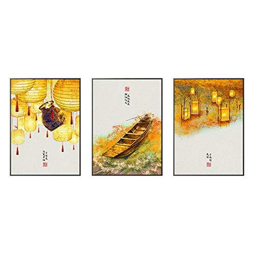 Japonés Paisaje Poster Y Impresiones Barco Linterna Hojas Pared Arte Vintage Chino...