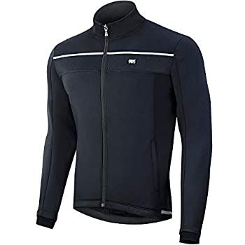 Souke Sports Men's Winter Warm Cycling Jacket Windproof Running Water Resistant Thermal Breathable Softshell Windbreaker Reflective for Bike Riding Black(Black,X-Large