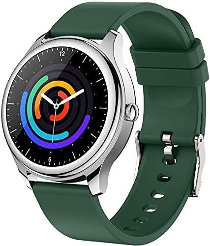 Reloj inteligente 1.2 pantalla táctil reloj inteligente impermeable ip67 fitness tracker podómetro cronómetro pulsera, pulsera deportiva Bluetooth: cinturón de silicona_verde